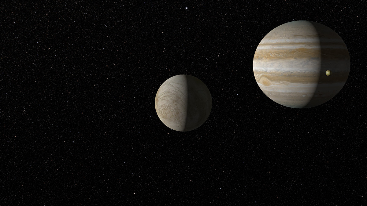 I, Voyager screen capture of Europa, Jupiter and Io.