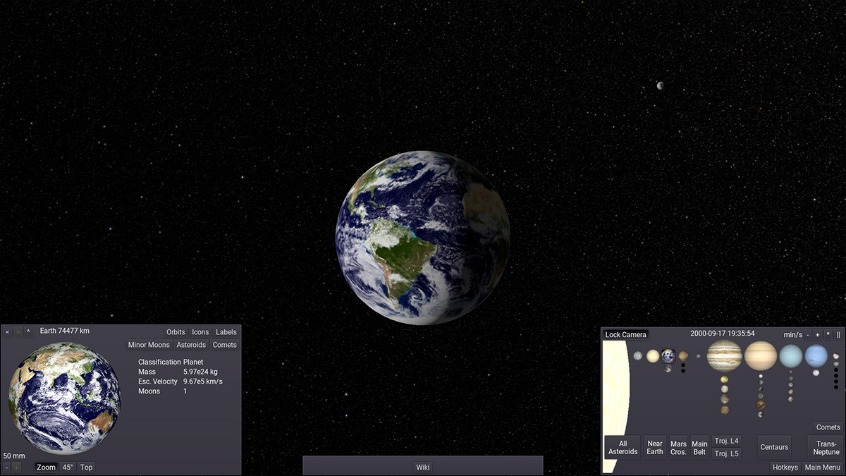 I, Voyager screen capture with user interface, showing Earth, Selection Panel, Info Panel and Navigation Panel.