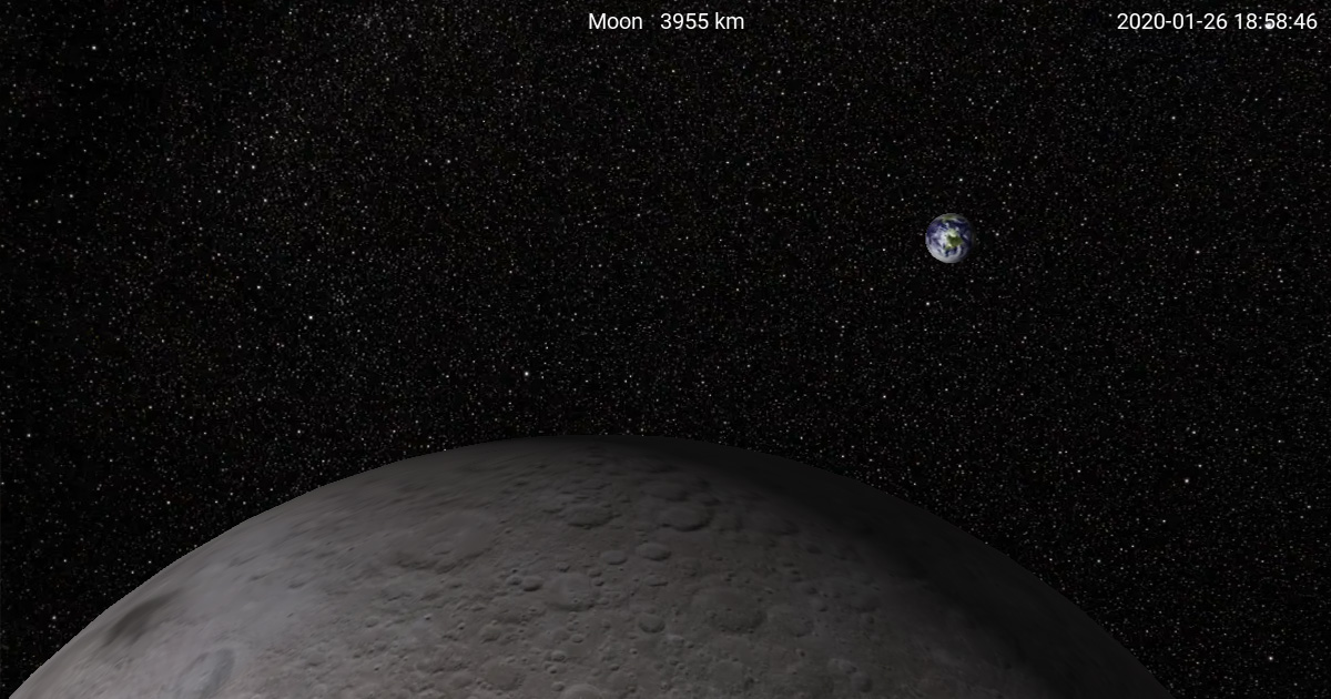 I, Voyager screen capture of the Moon with Earth.