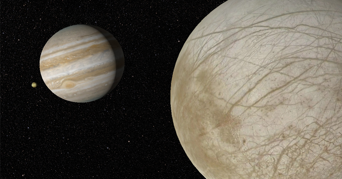 I, Voyager screen capture of Jupiter and Io viewed from Europa.
