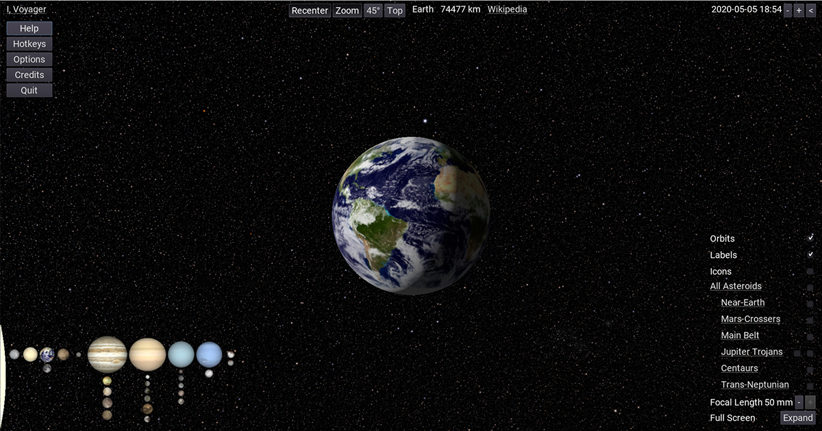 Screen capture of I, Voyager Planetarium GUI. Individual elements are shown when mouse moves to the GUI's screen zone.